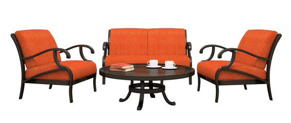 Set of the two armchairs,sofa and table isolated on white backgr