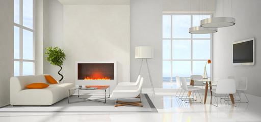 Panaramic view on the modern interior
