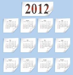 vector calendar 2012 on white paper
