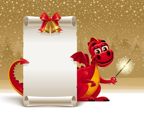 Dragon with a sparkler and paper scroll for greeting