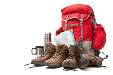 Fototapeta hiking equipment. Concept for family hiking
