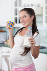 Pregnant woman drinks the milk