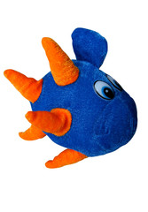 A plush toy blue fish isolated on white