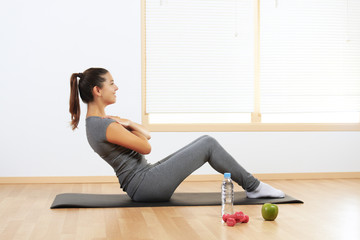 girl doing sport exercises