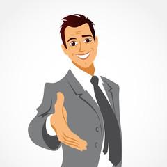 homme souriant et accueillant, la main tendue