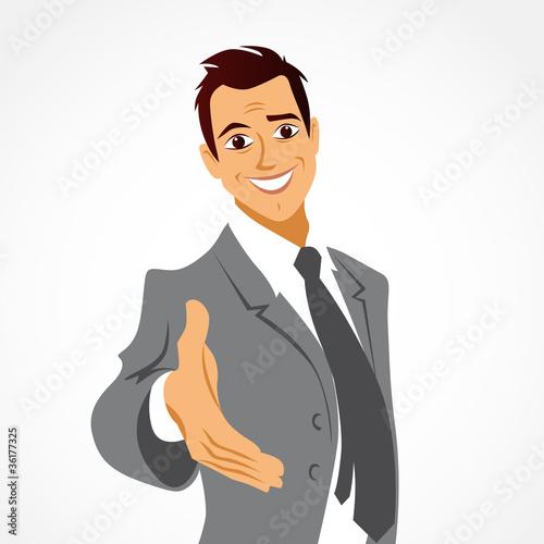 """Homme Souriant homme souriant et accueillant, la main tendue"""" stock photo and"""