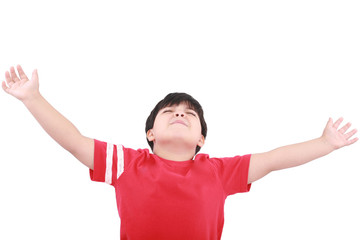 Portrait of the young boy holding hands up