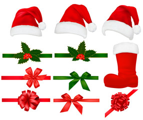 Collection of red santa hats with and Christmas holly. Vector