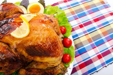 Roasted turkey on the festive table