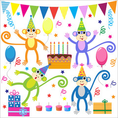 Set of vector birthday party elements with funny monkeys