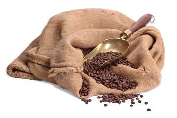Sack mit Kaffeebohnen, isoliert