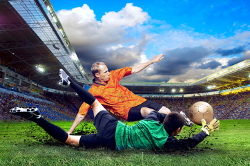Poster Soccer ball Football player on field of stadium