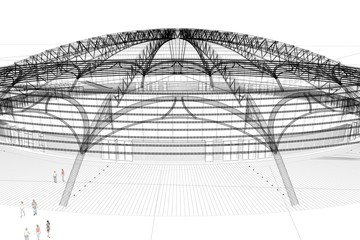 progetto palasport rendering 3d ingegneria architettura