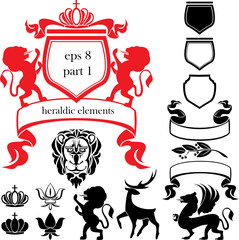 Set of heraldic silhouettes elements - lion, blazon, crown