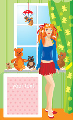 Pretty girl with teddy bear toys standing next to window