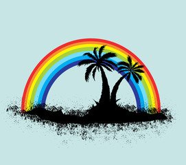 Exotic Tropical Palm Tree with Rainbow Landscape