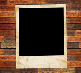 photo frame on the wood background