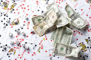Playng card and dollar
