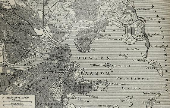 Old map of Boston harbor