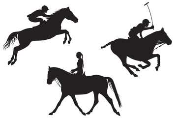 Equestrian sport. vector silhouettes