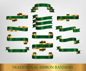 Collections of green ribbons vector illustration