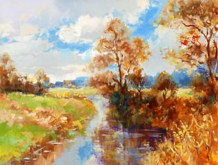 herbst landschaft gemalt