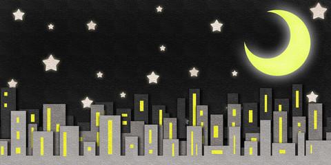 city night scene watercolor on paper