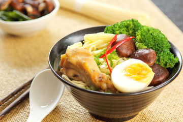 Noodle soup with mushroom and chicken