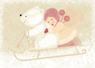 Little girl with cub polar bear sledding