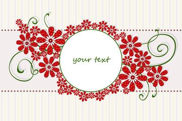 scrapbook fiori rossi e ghirigori su sfondo a righe