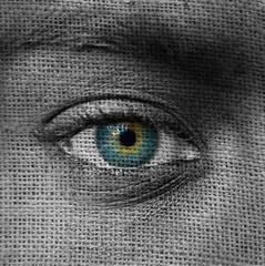 Blue eye on canvas pattern
