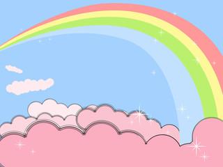 Keuken foto achterwand Hemel Rainbow in pink clouds