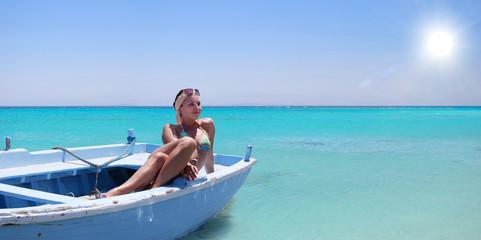 In blue lagoon