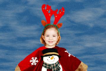 Wall Mural - beauty little girl Christmas scene