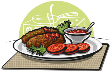 cutlets and tomato sauce