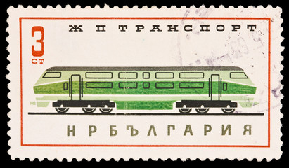 Bulgaria shows Railway transportation, circa 1965