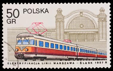 Poland, Elektryfikacja linii Warszawa-Slask, circa 1957