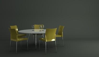 Wohndesign - Esstisch mit grünen Stühlen