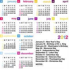 2012 calendar with official USA holidays