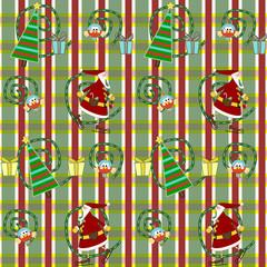 sfondo natalizio con babbo natale, albero, uccellino ...