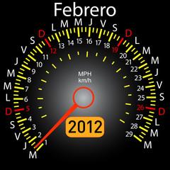 2012 year calendar speedometer car in Spanish. February