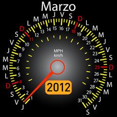 2012 year calendar speedometer car in Spanish. March