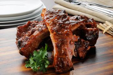 Barbecue ribs close up