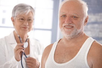 Senior man on health control