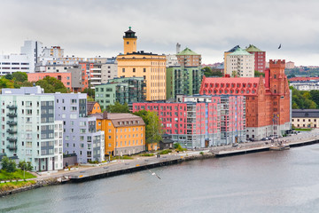 many-colored buildings on waterfront in Stockholm