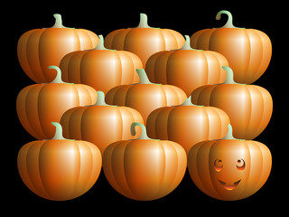 smiling pumpkin with ordinary pumpkins