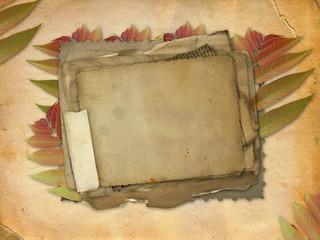 Abstract ancient brown background with set old paper in scrap bo
