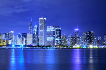 Printed roller blinds China Clouds at financial district (night view Chicago)