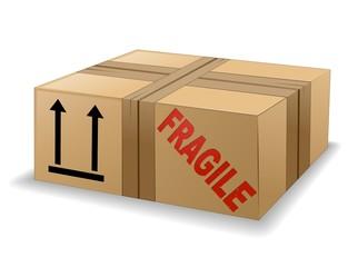 Scatola di Cartone Fragile-Pacco Postale-Cardboard Box-Vector