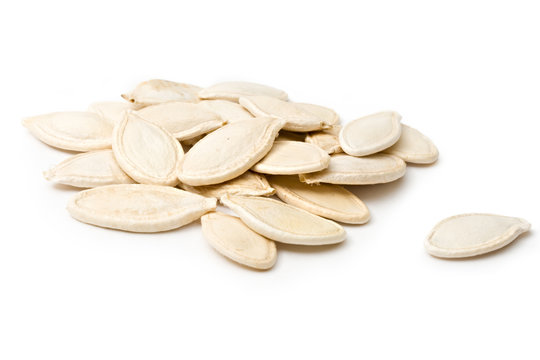 Pumpkin seeds isolated on the white background